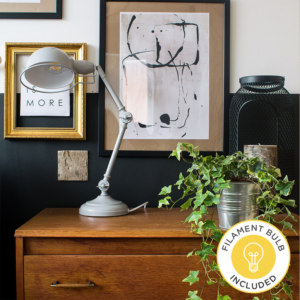 Iconic Forton Desk Lamp in Grey by Grillo Designs Just £40