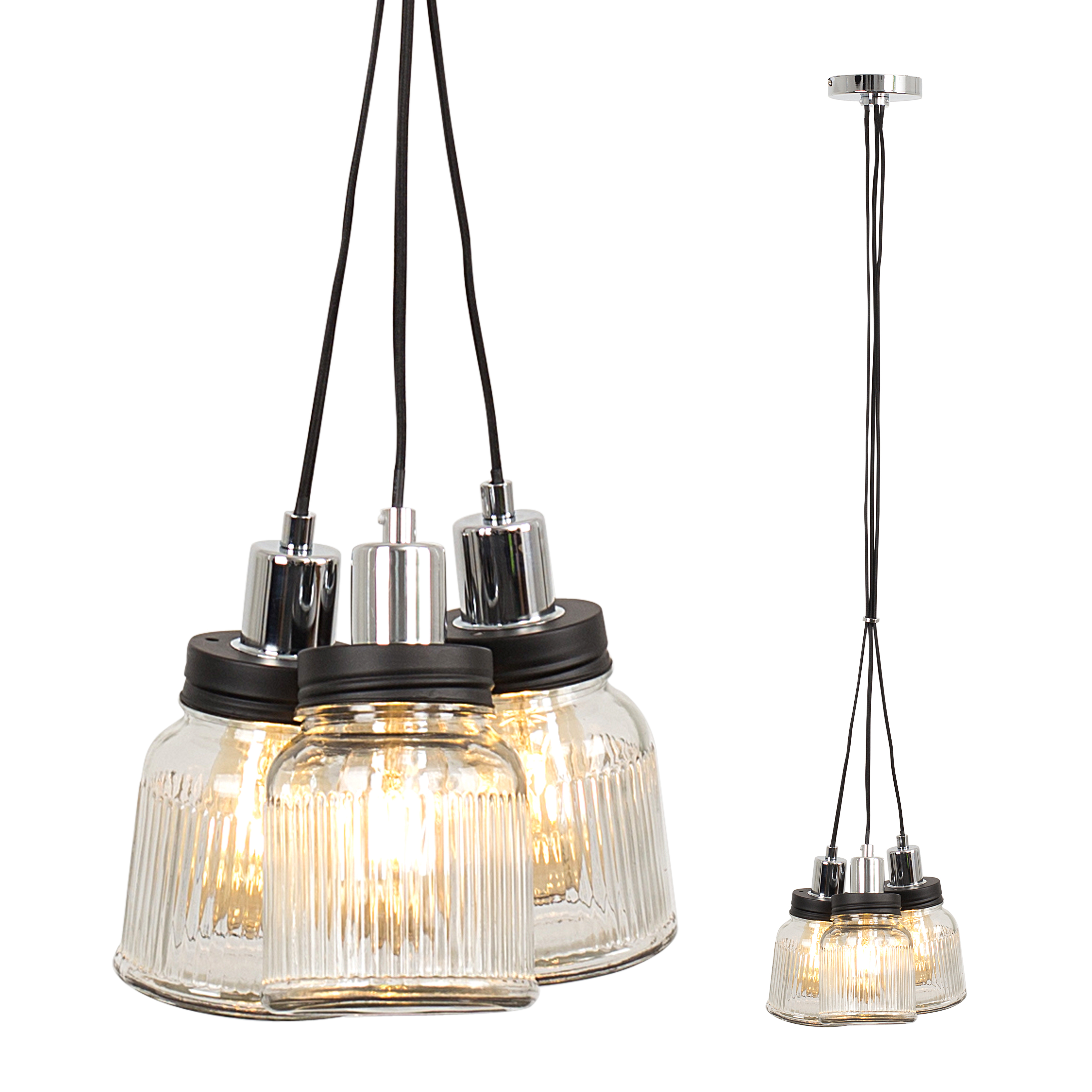 Eyre 3 Way Pendant in Chrome with Ribbed Glass Jars