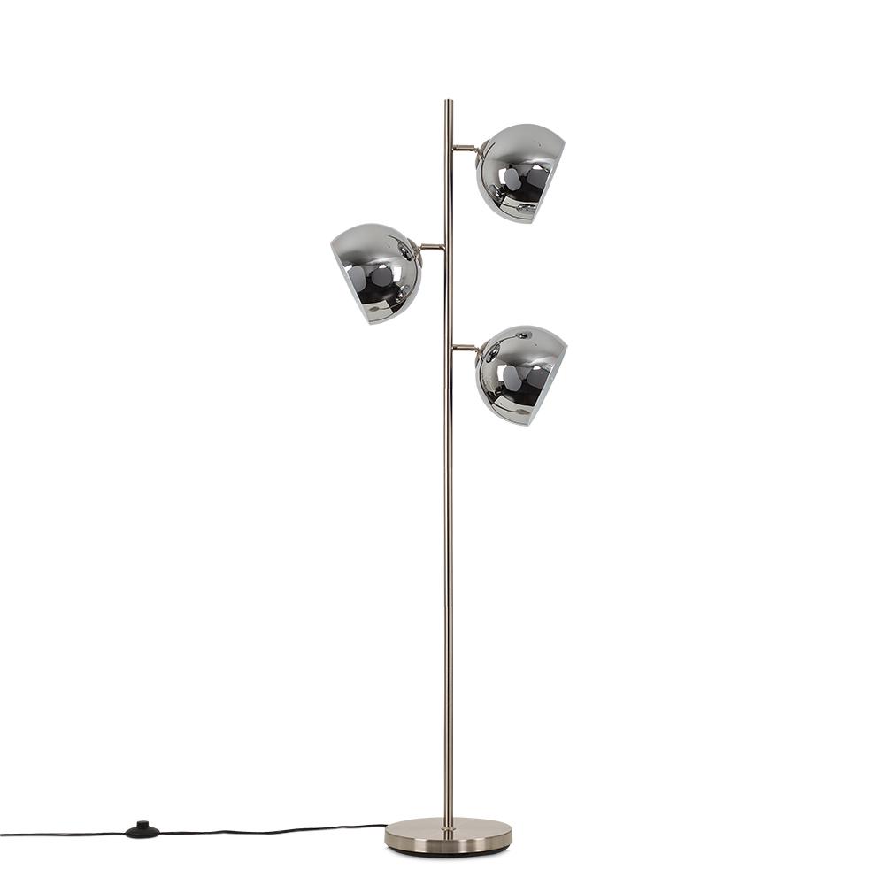 Elliot Satin Nickel 3 Way Floor Lamp with Chrome Shades