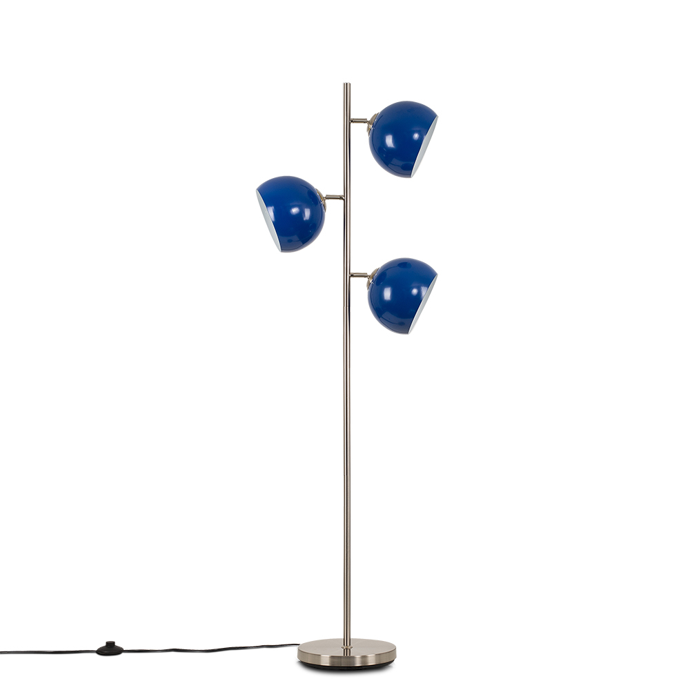 Elliot Satin Nickel 3 Way Floor Lamp with Dark Blue Shades