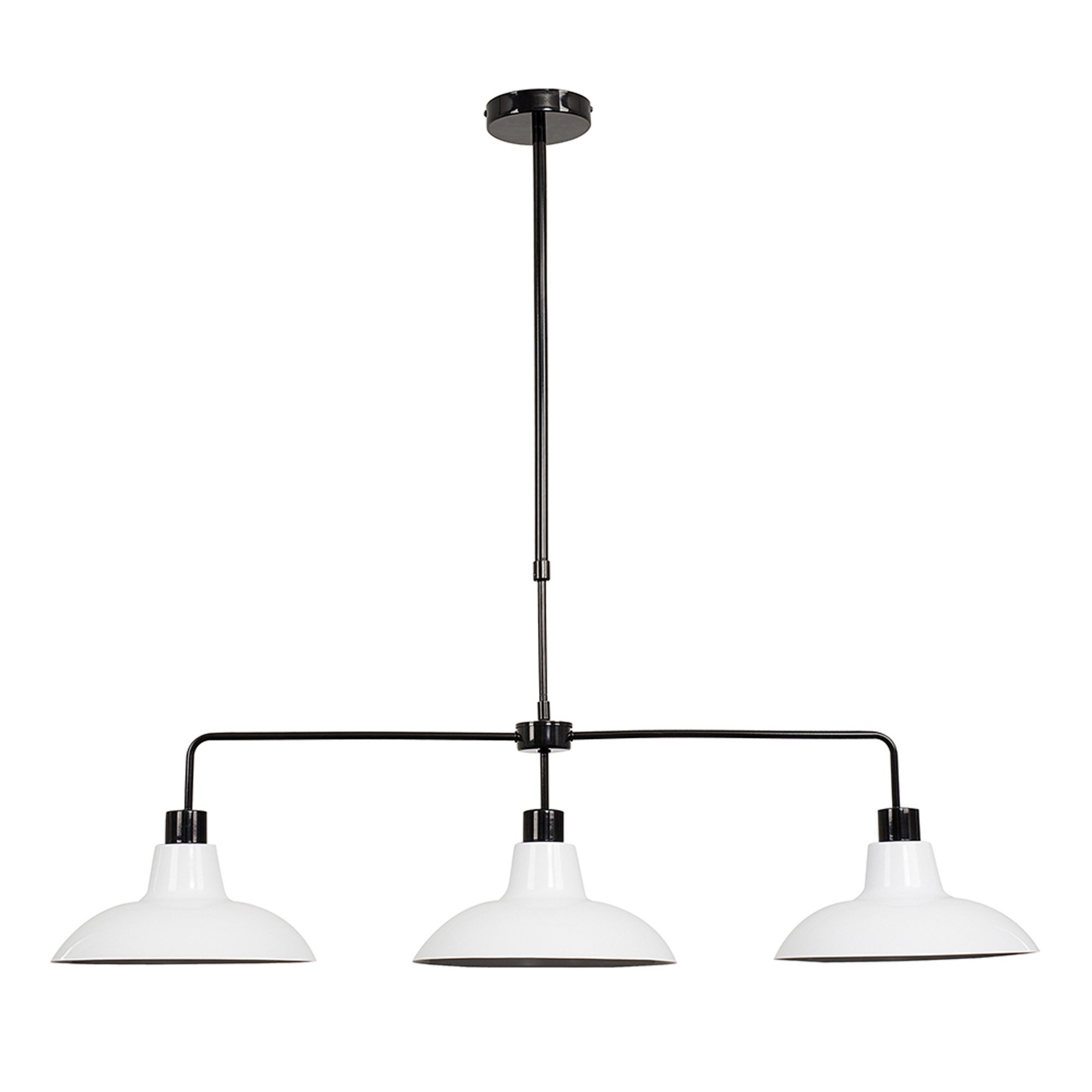 Huckleberry Black 3 Way Over Table Light with White Shades