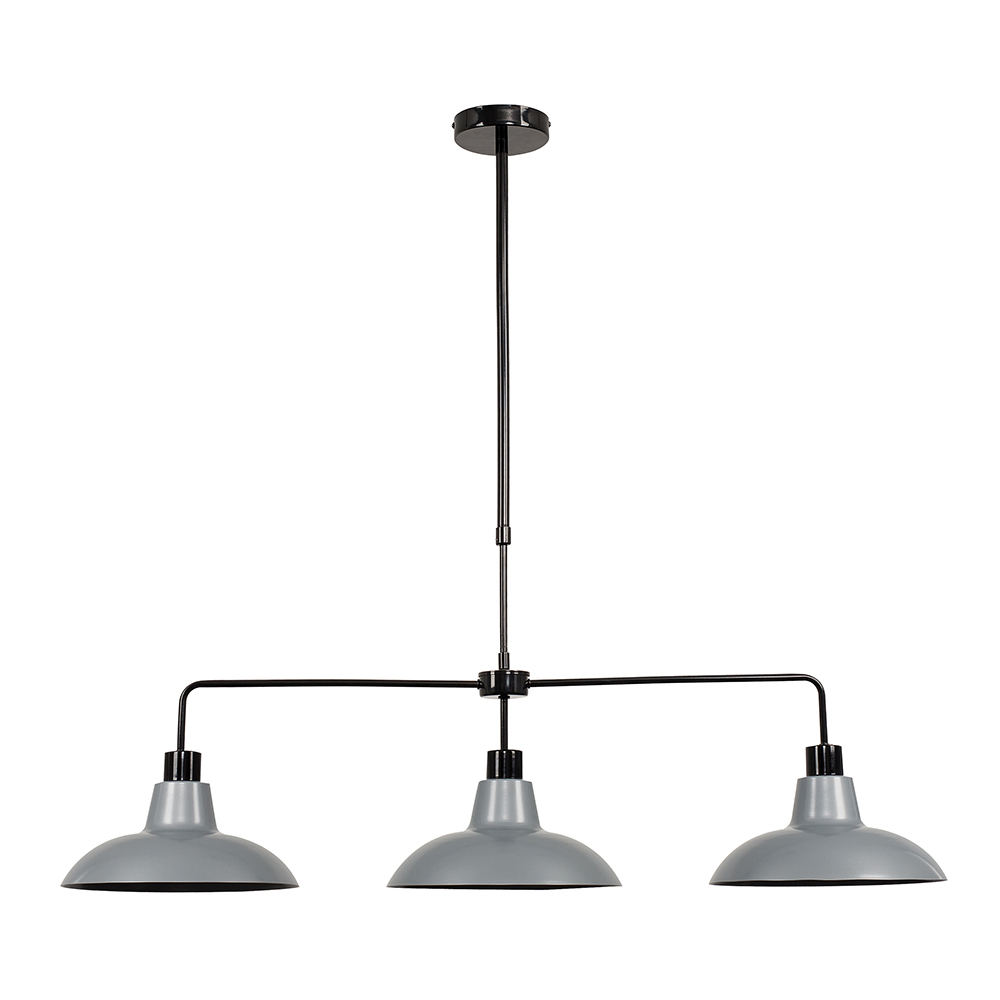 Huckleberry Black 3 Way Over Table Light with Silver Shades