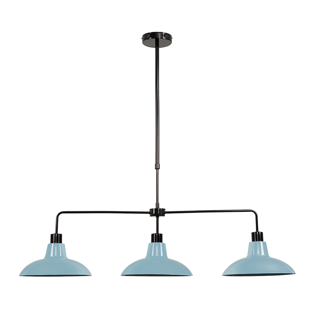Huckleberry Black 3 Way Over Table Light with Blue Shades