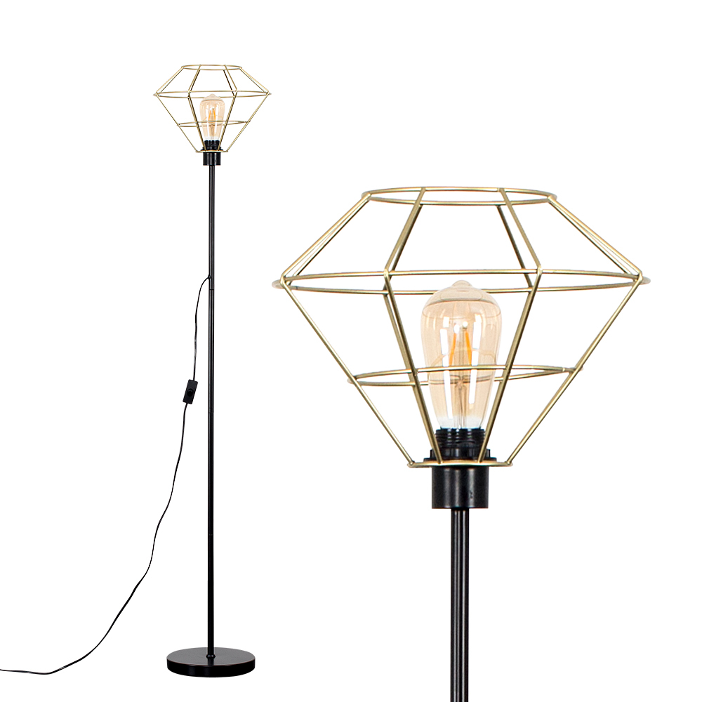 Charlie Black Stemmed Floor Lamp With Gold Trillian Geometric Shade
