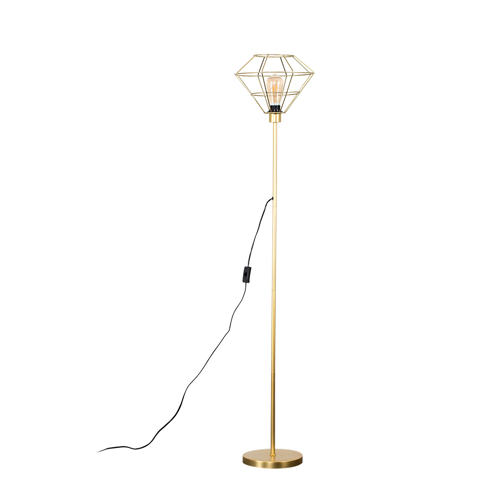 Charlie Gold Stemmed Floor Lamp With Gold Trillian Geometric Shade