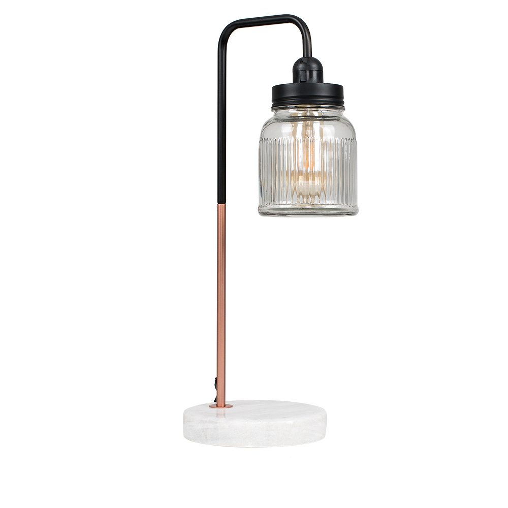 Talisman Copper Nickel Table Lamp With Ribbed Glass Jam Jar Shade