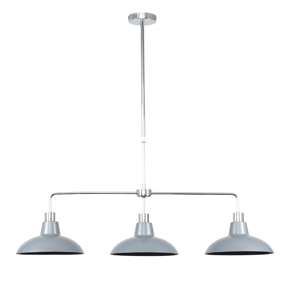 Huckleberry Chrome 3 Way Over Table Light with Silver Shades