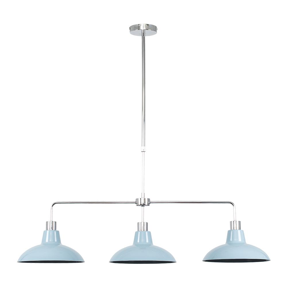 Huckleberry Chrome 3 Way Over Table Light with Cornflower Blue Shades