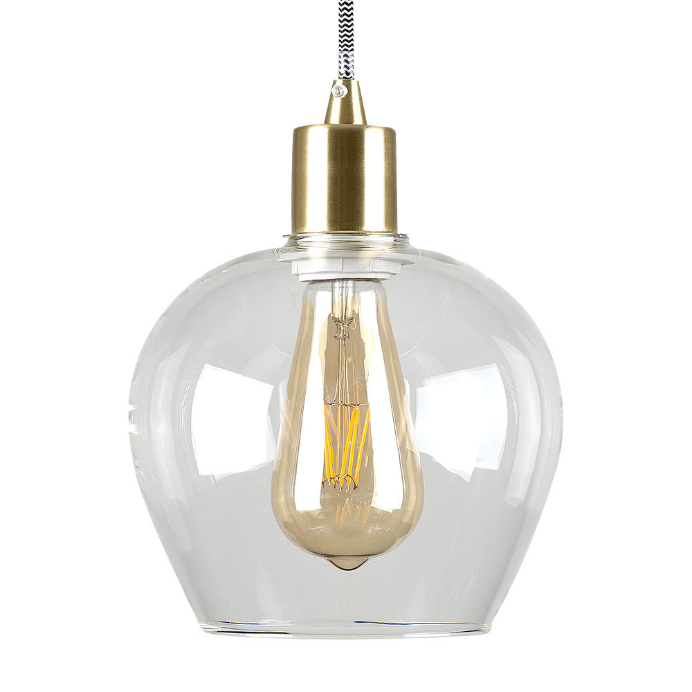 Brushed Gold Lampholder with Lewis Glass Shade
