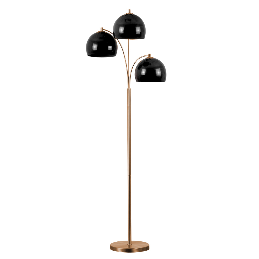 Dantzig Copper 3 Arm Floor Lamp with Black Dome Shades