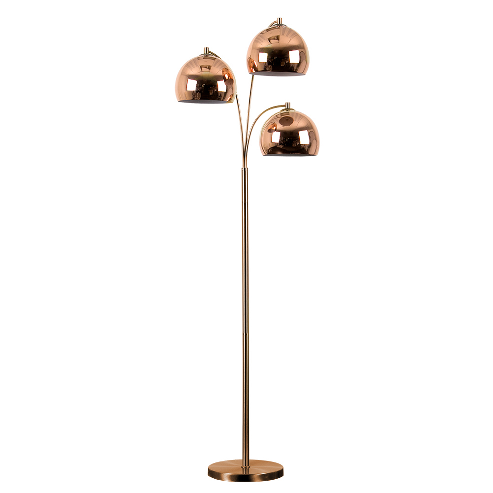 Dantzig Copper 3 Arm Floor Lamp with Copper Dome Shades