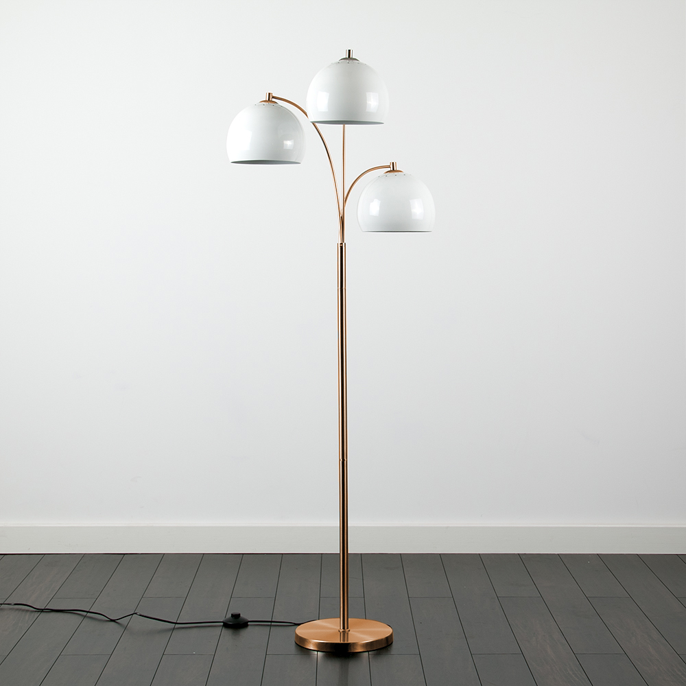 Dantzig Copper 3 Arm Floor Lamp with White Dome Shades