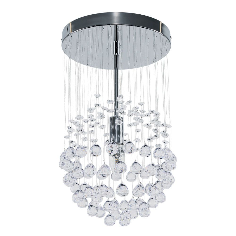 Denver Ceiling Fitting in Chrome with Acrylic Droplets
