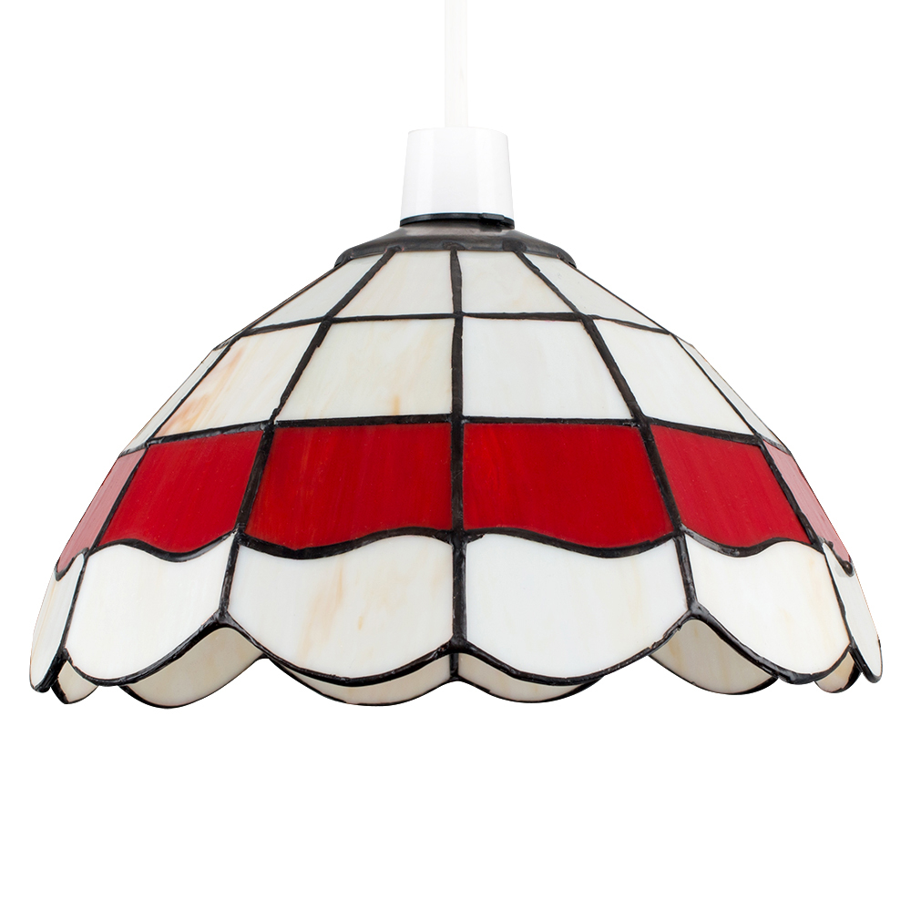 Tiffany Pendant Ceiling Shade in Red and Cream