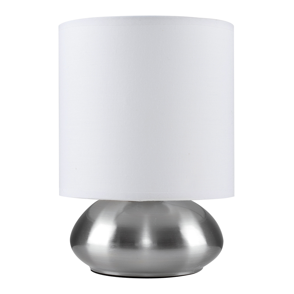 Satin Nickel Touch Table Lamp with White Drum Shade