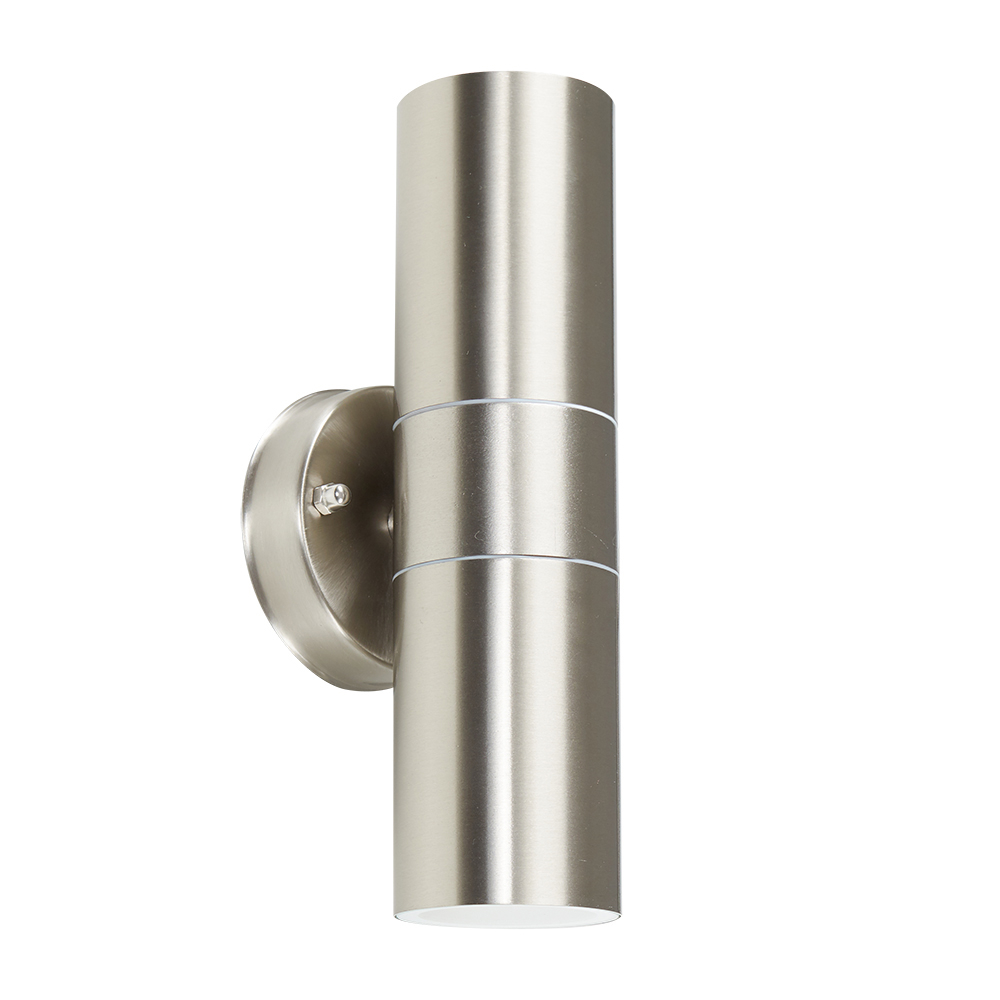 IP44 Outdoor Up/Down Wall Light in Brushed Chrome