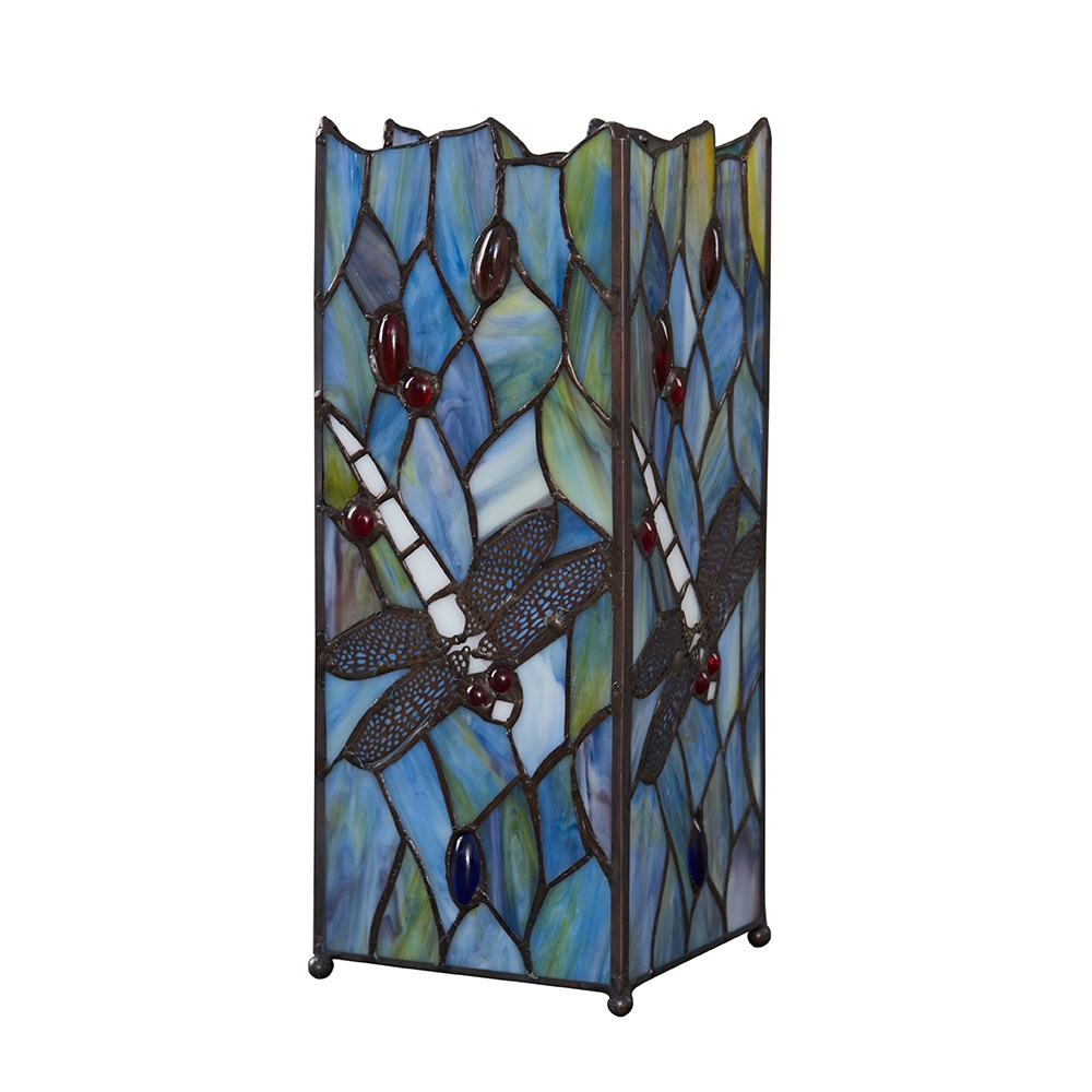 Tiffany Multi-Coloured Dragonfly Square Table Lamp