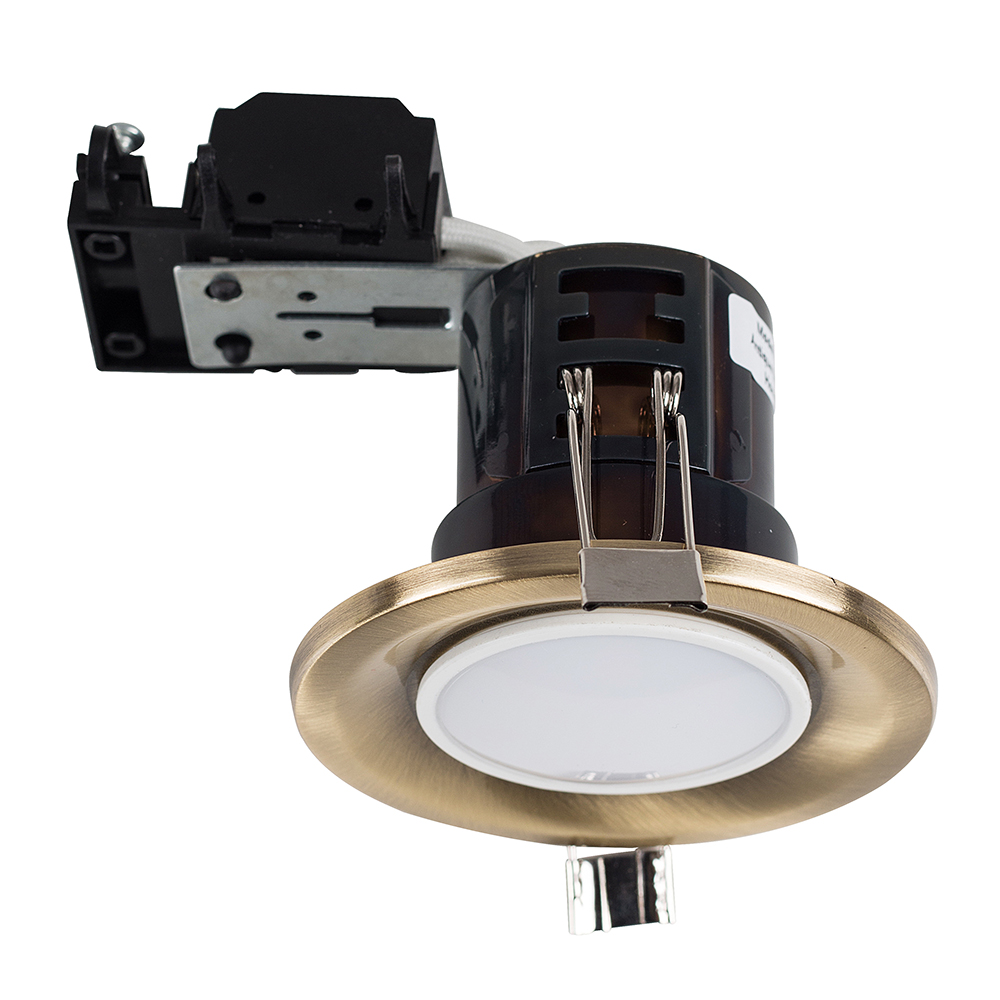 MiniSun Fire Rated Downlight in Antique Brass