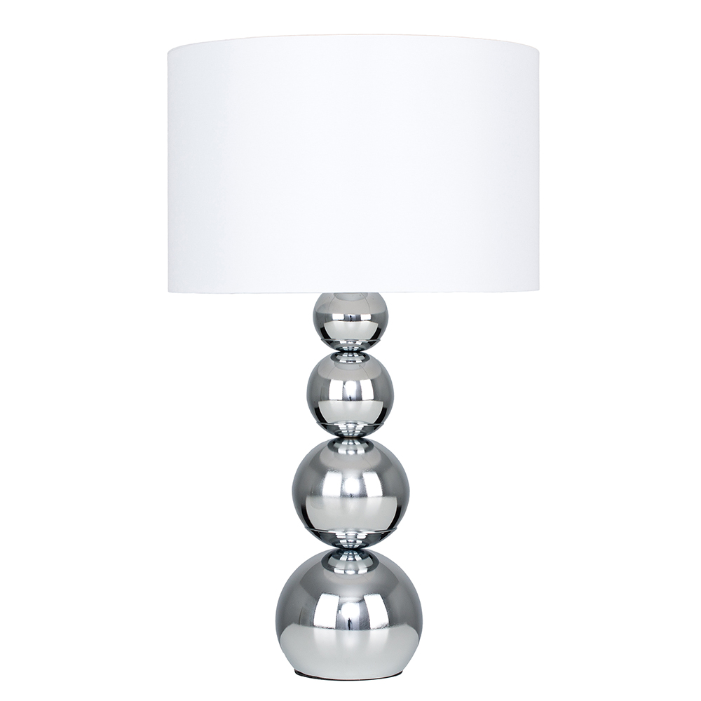 Large Marissa Chrome Table Lamp with White Shade