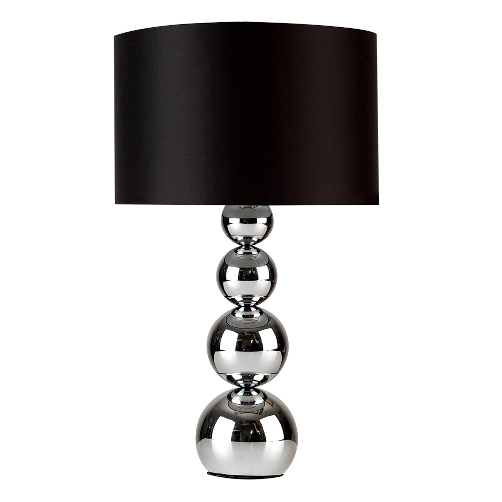 Large Marissa Chrome Table Lamp with Black Shade