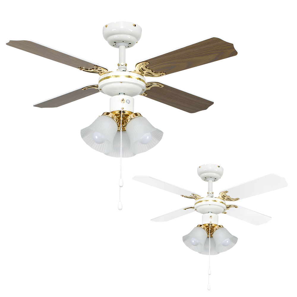 Hawker 3 Way 36 Ceiling Fan in White and Polished Brass