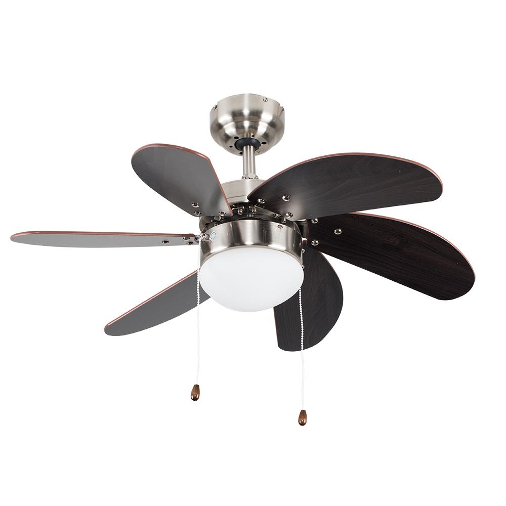 Typhoon 30 Ceiling Fan in Brushed Chrome with Wood Effect Blades