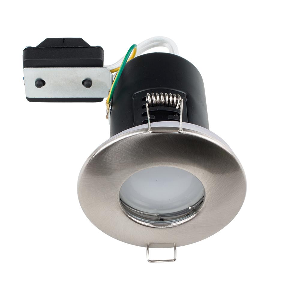 MiniSun Domed Bezel IP65 Fire Rated Bathroom Downlight in Satin Nickel