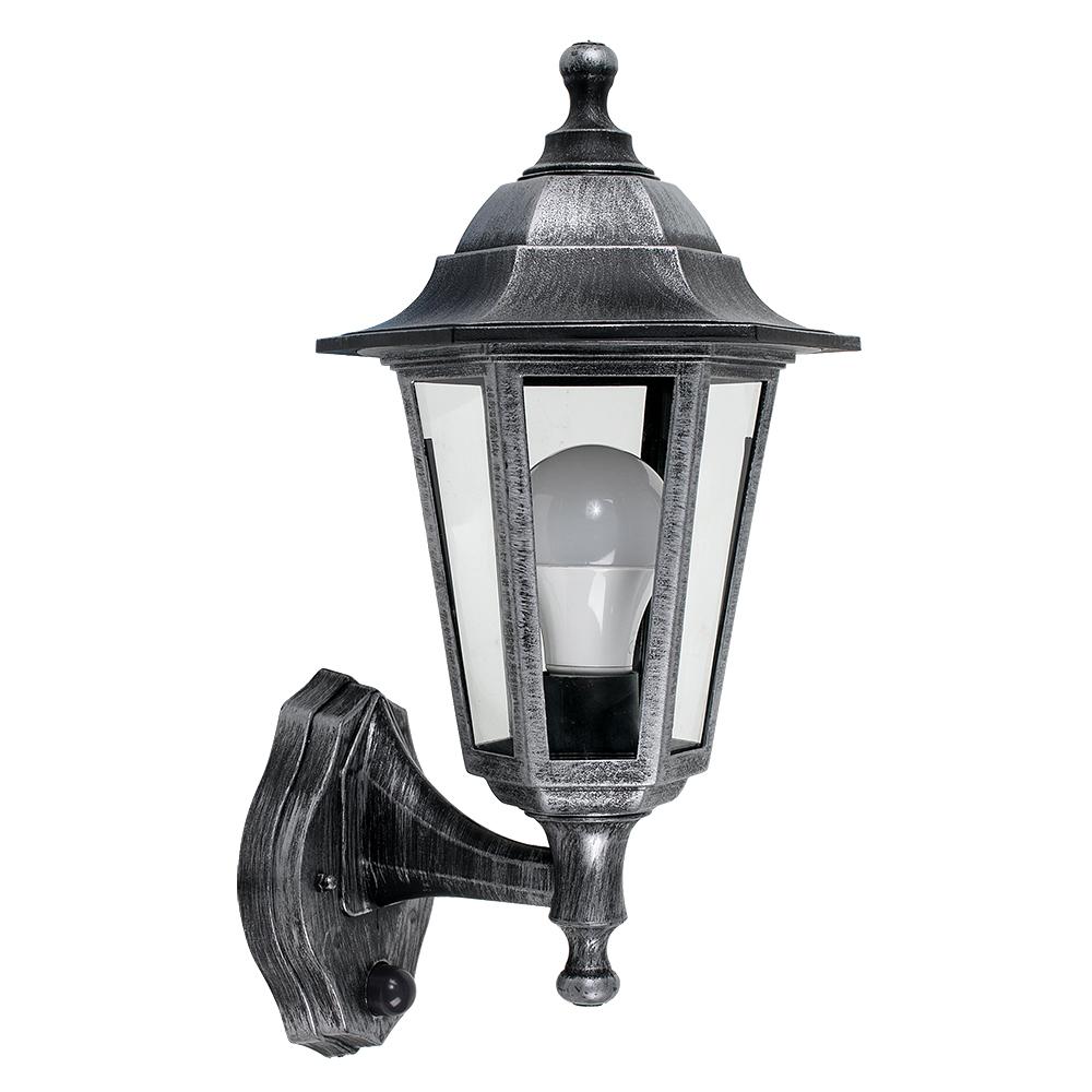 Mayfair IP44 Outdoor Lantern with PIR Sensor in Brushed Silver
