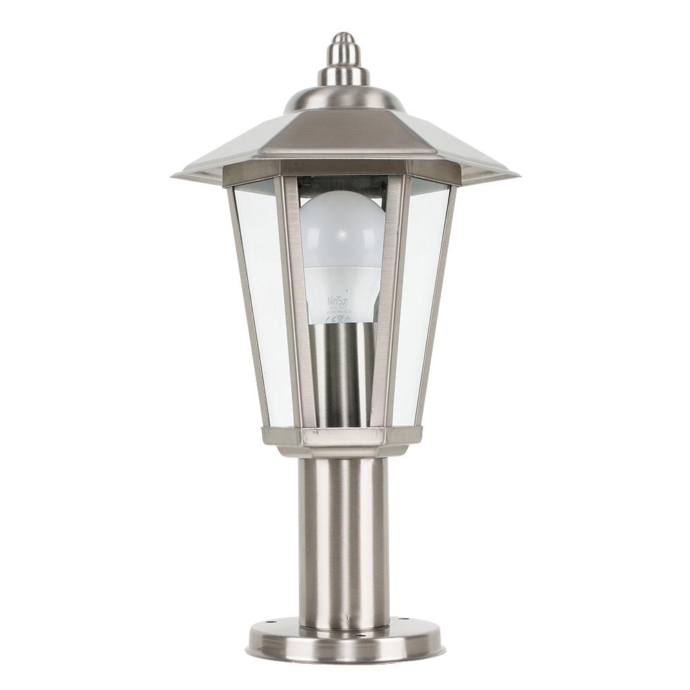 Mottram IP44 Outdoor Post Top Lantern in Brushed Chrome