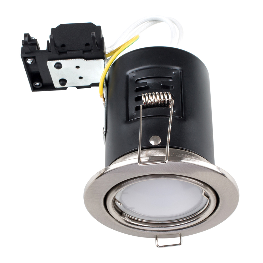 MiniSun Tiltable Fire Rated Downlight in Brushed Chrome