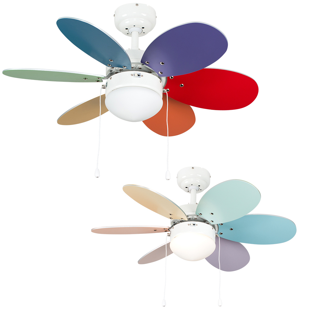 Candy Multi Coloured 30 Ceiling Fan with Opal Glass Shade