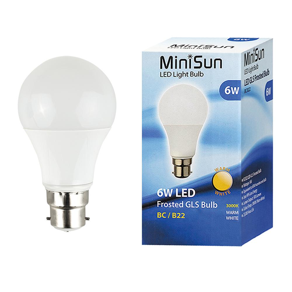 MiniSun 6W BC/B22 GLS Bulb In Warm White