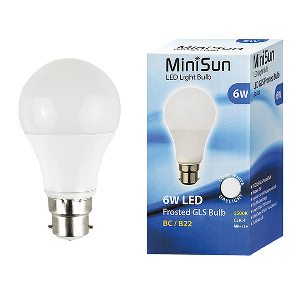 MiniSun 6W BC/B22 GLS Bulb In Cool White