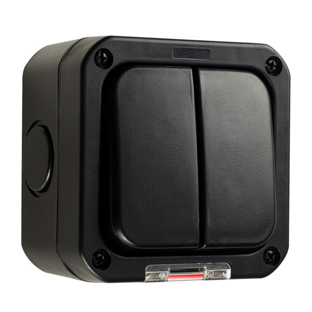 Double IP66 2-Gang Outdoor Switch in Black