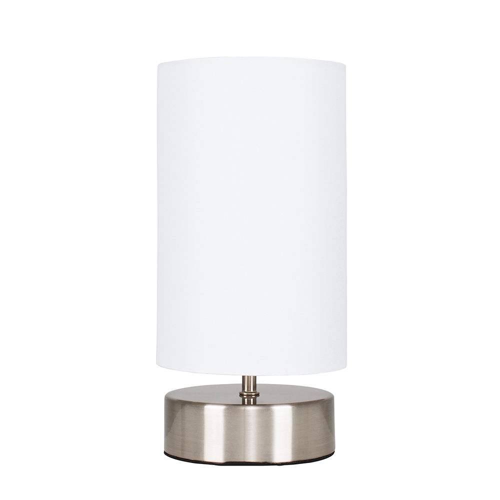 Francis Brushed Chrome Touch Table Lamp with White Shade