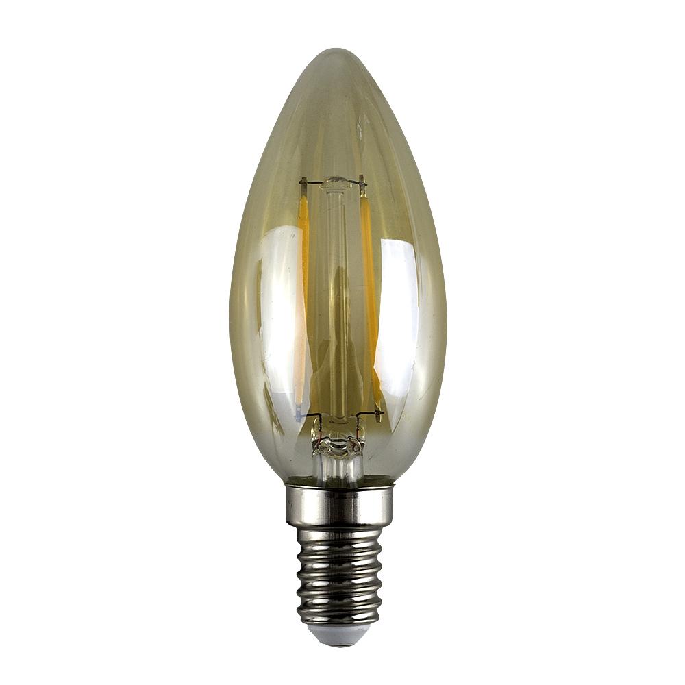 MiniSun 2W SES/E14 Filament Candle Bulb In Amber