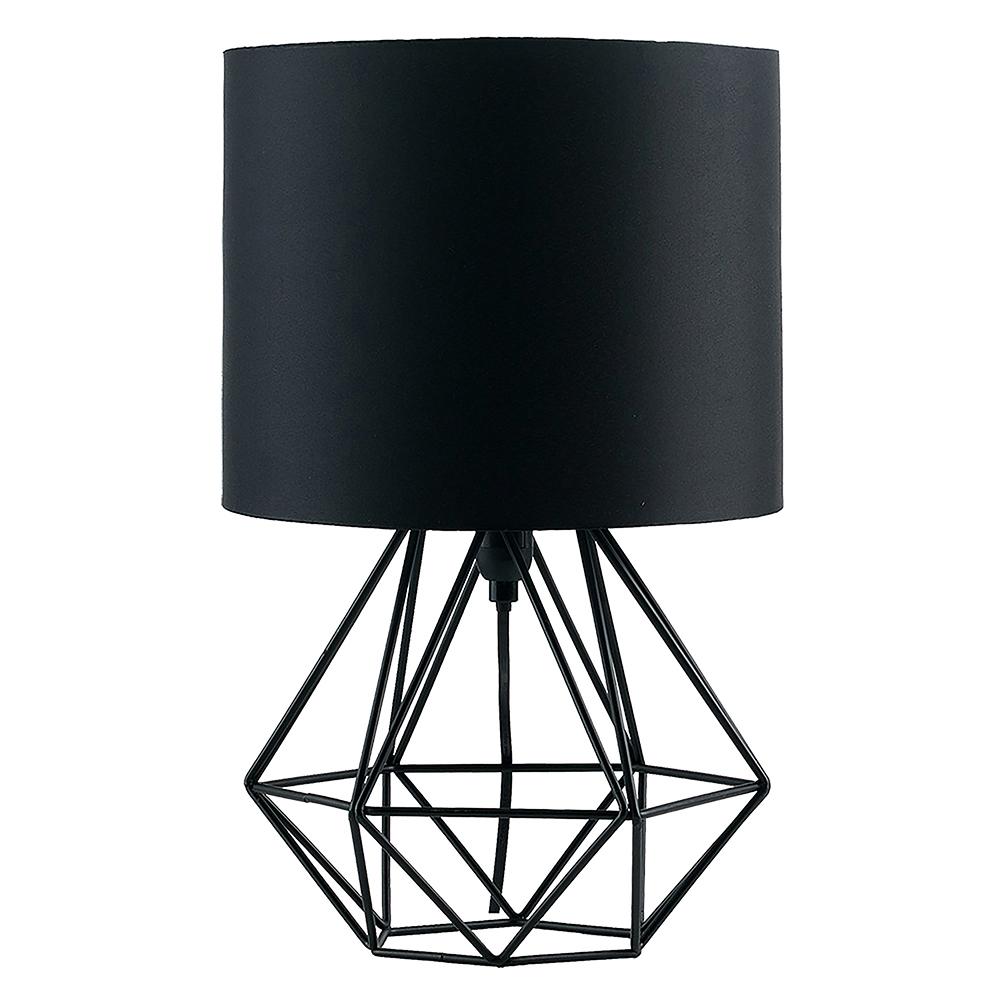 Angus Black Geometric Table Lamp With Black Shade