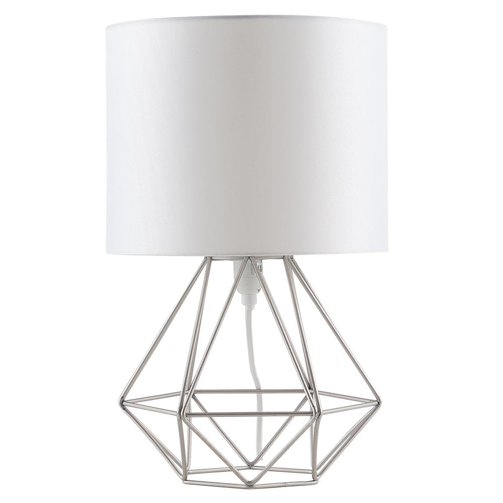 Angus Satin Nickel Geometric Table Lamp With White Shade