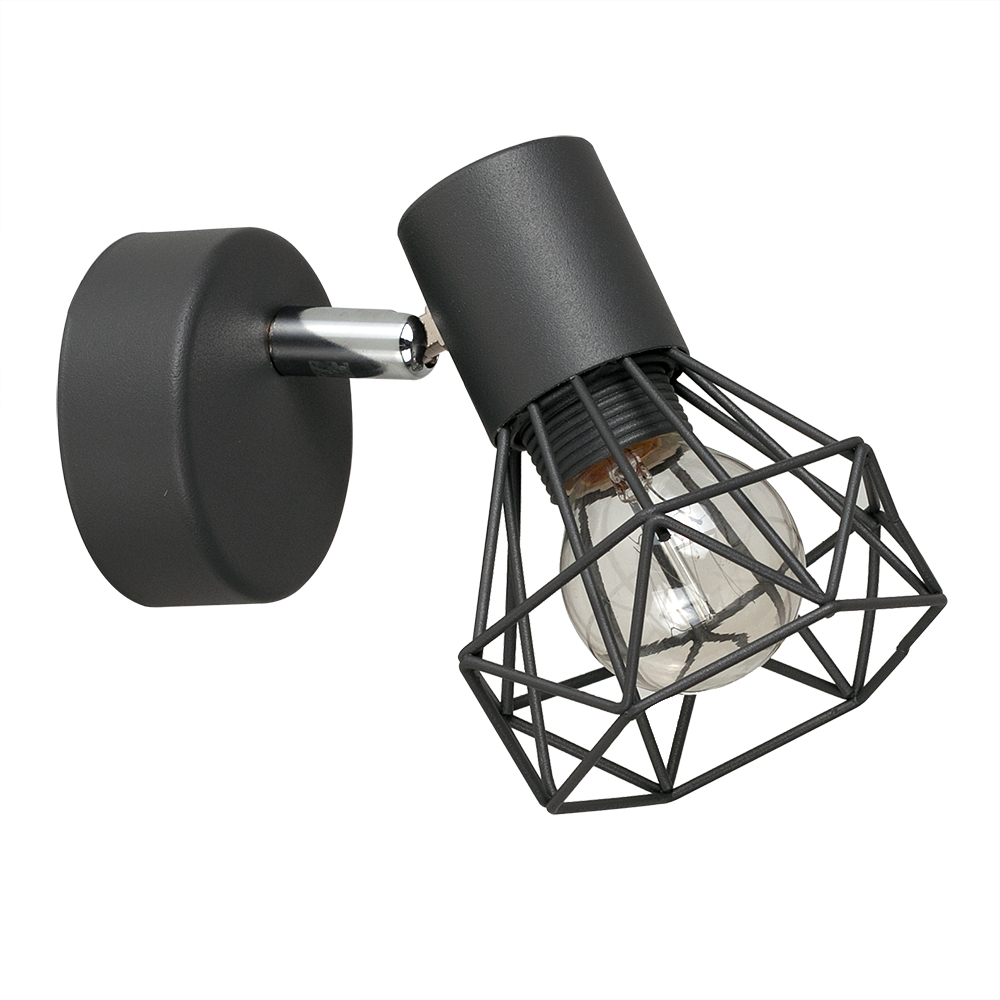 Angus Industrial Wall Light in Black Pewter Grey