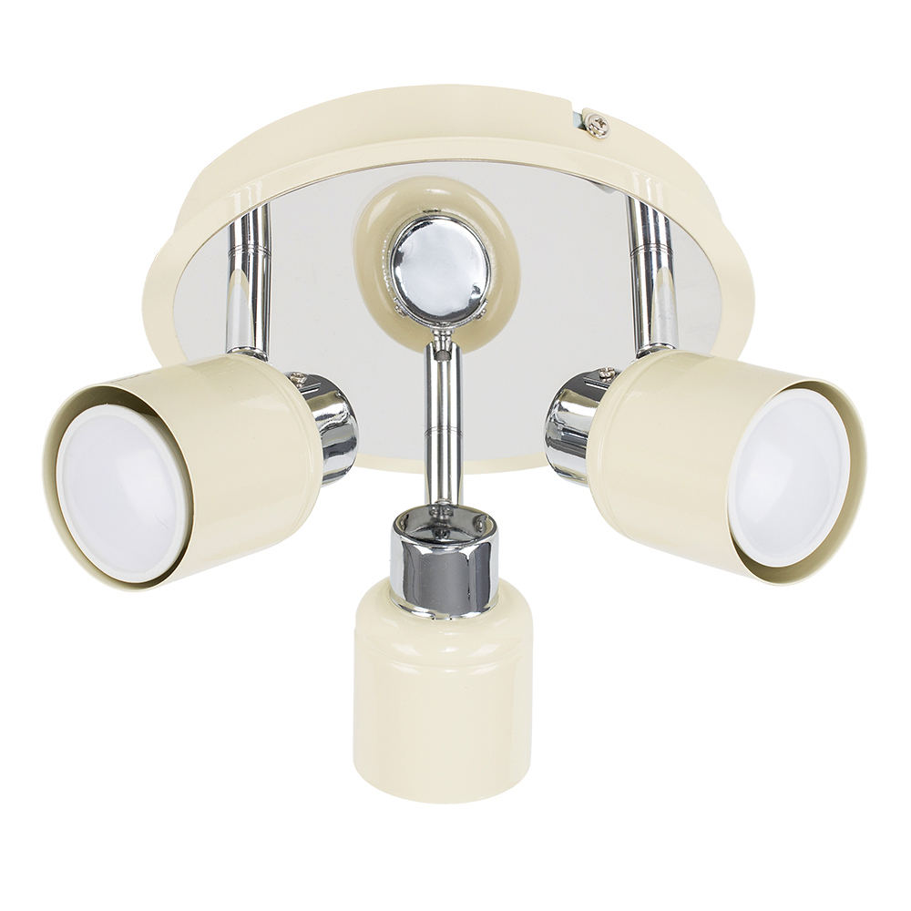 Benton 3-Way Ceiling Spotlight in Cream and Chrome