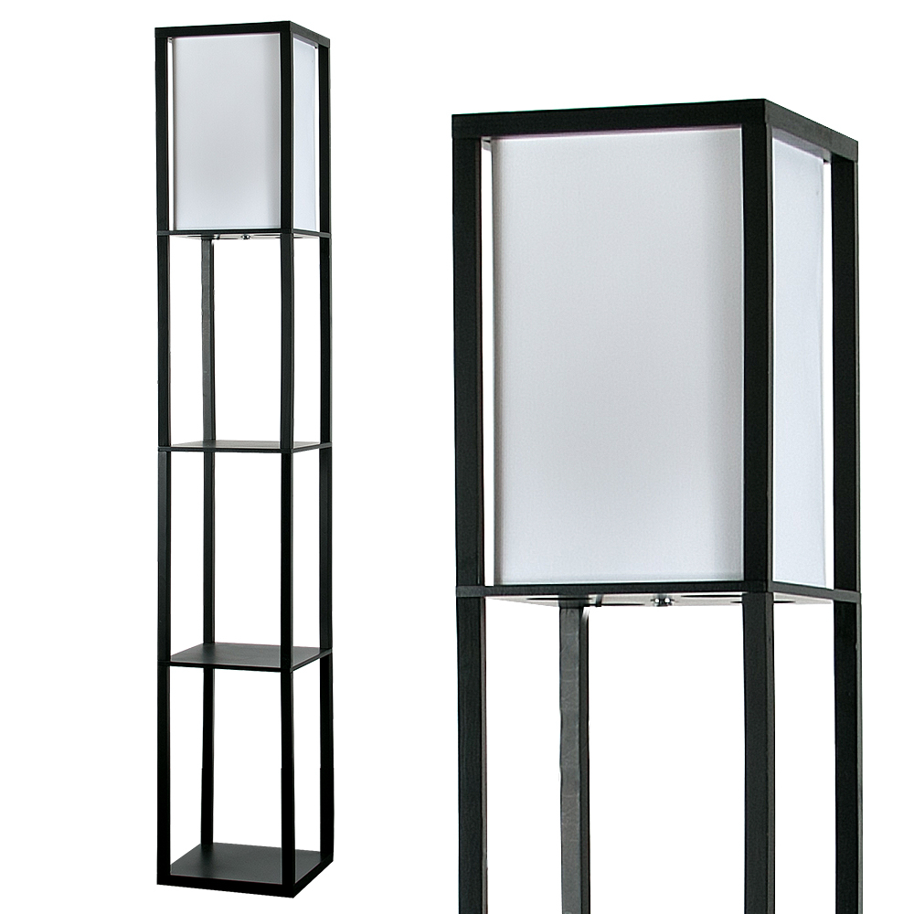 Wooden Shelving Unit Floor Lamp With Fabric Shade in Black