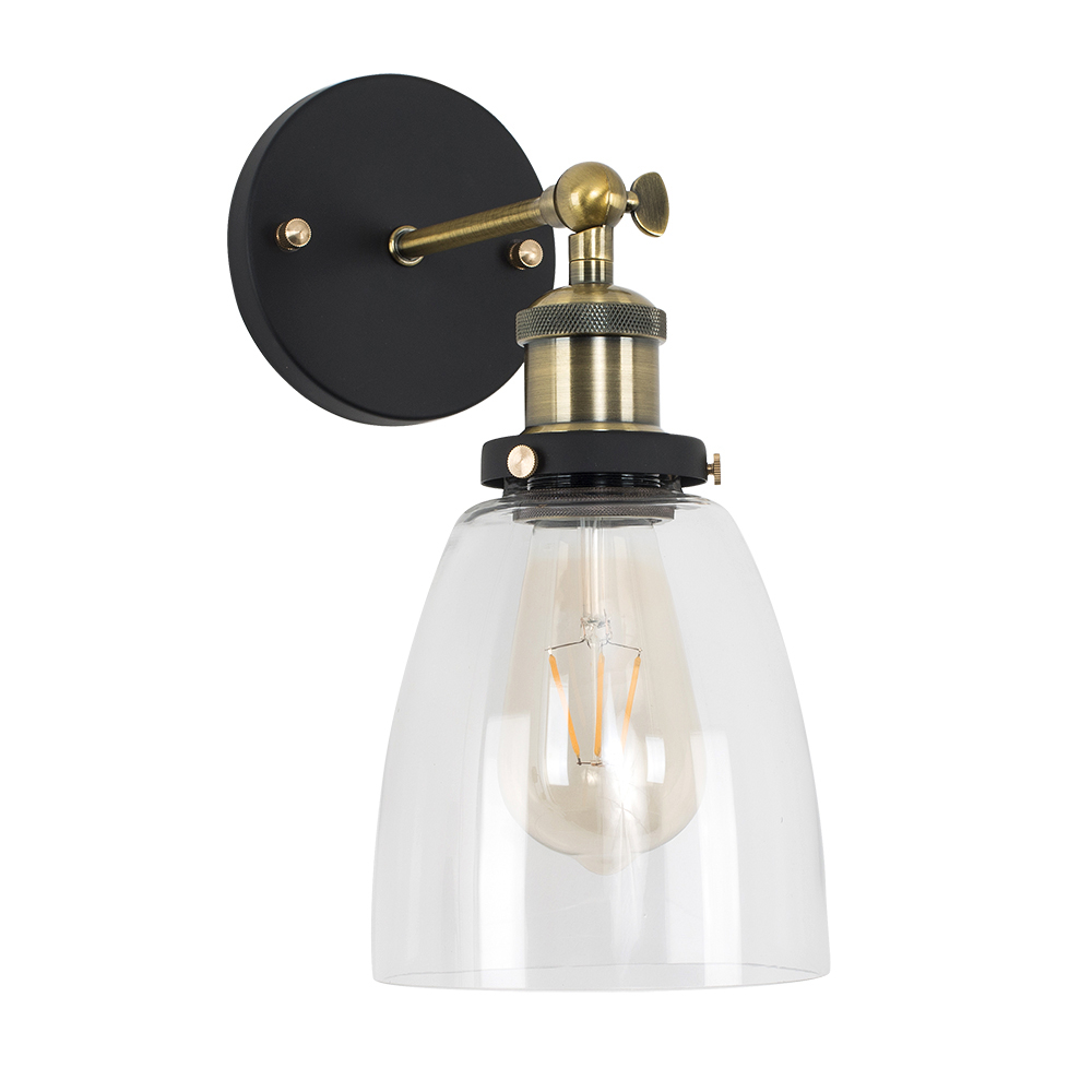 Ambrose Antique Brass Wall Light with Glass Shade
