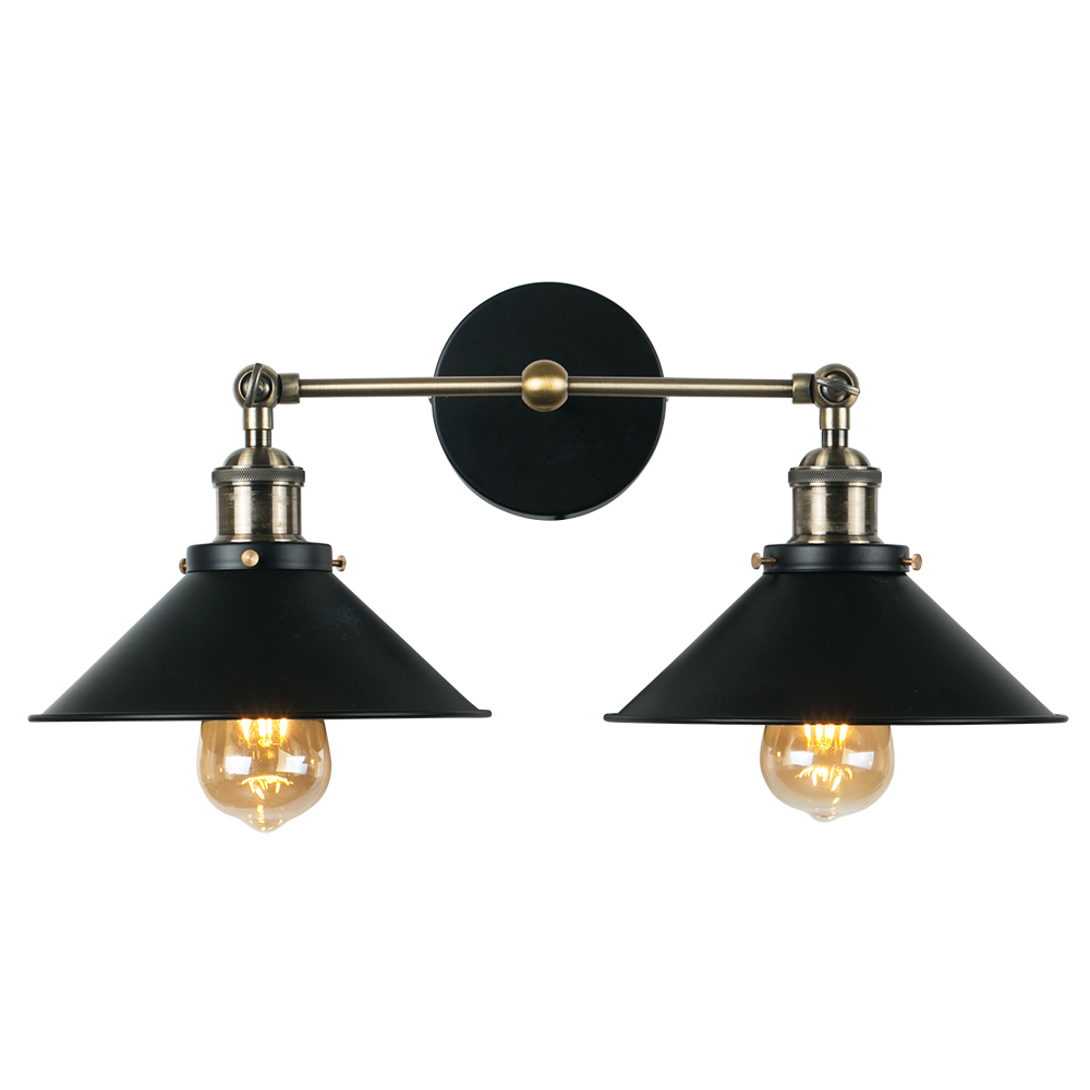 Colonial Black And Antique Brass Twin Wall Light