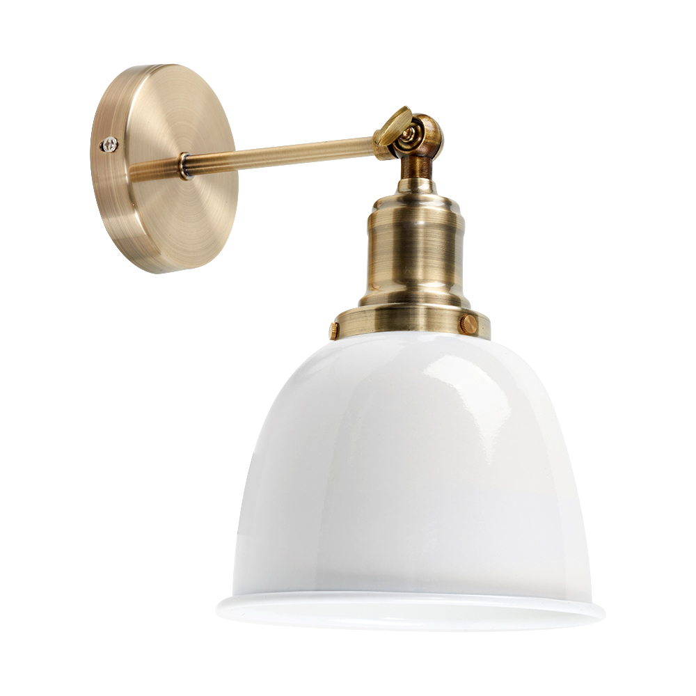 Wilhelm Antique Brass Style Wall Light with White Shade