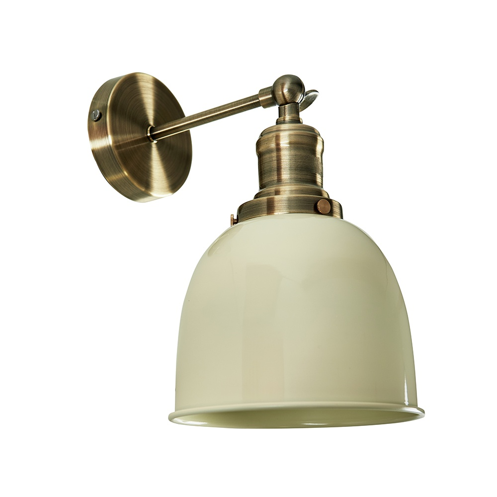 Wilhelm Antique Brass Style Wall Light with Cream Shade