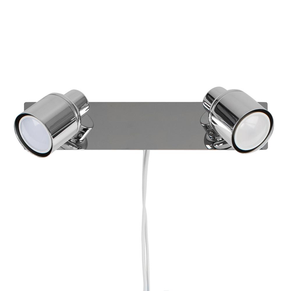 Benton Plug-in Twin Wall Light in Chrome