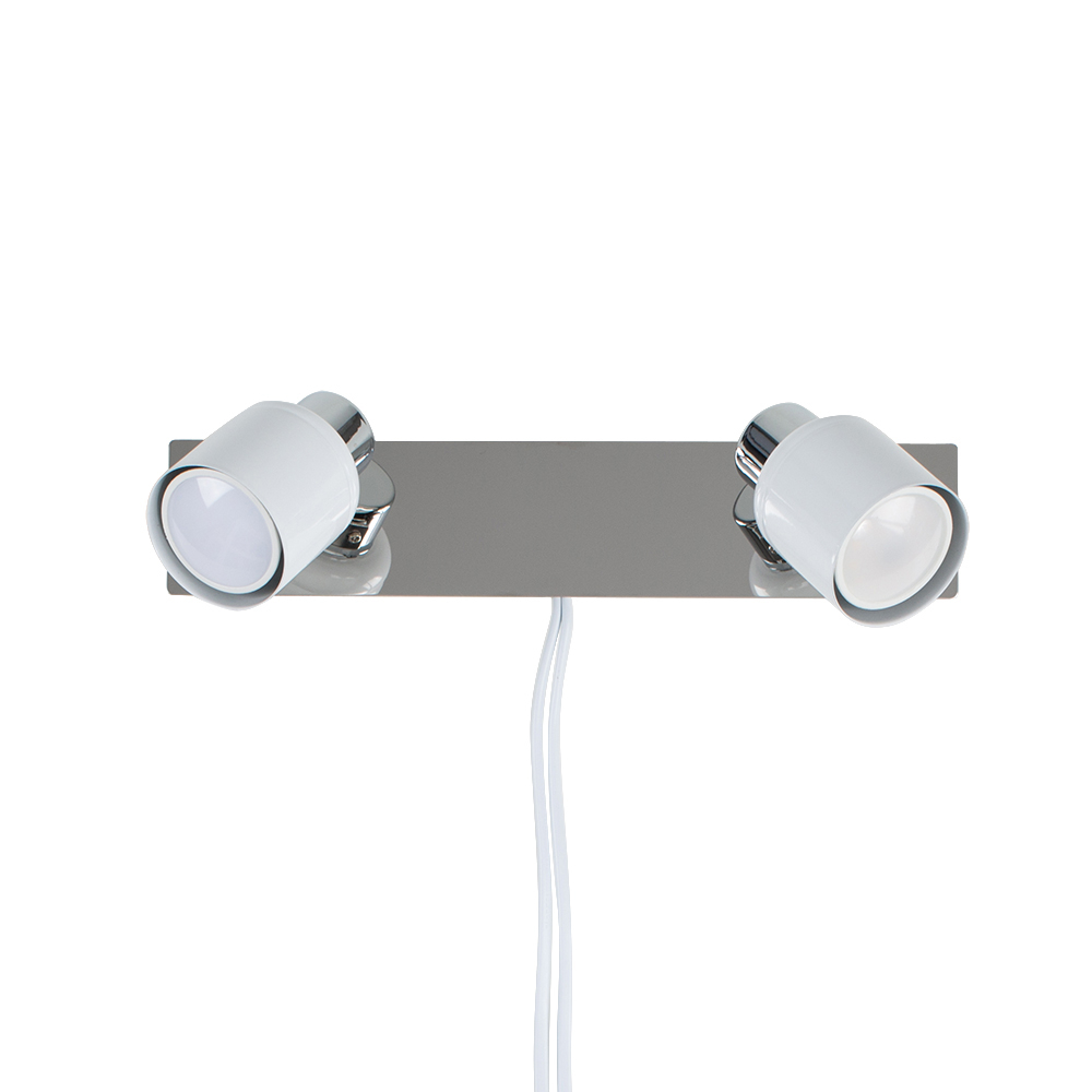 Benton Plug in Twin Wall Light in White and Chrome