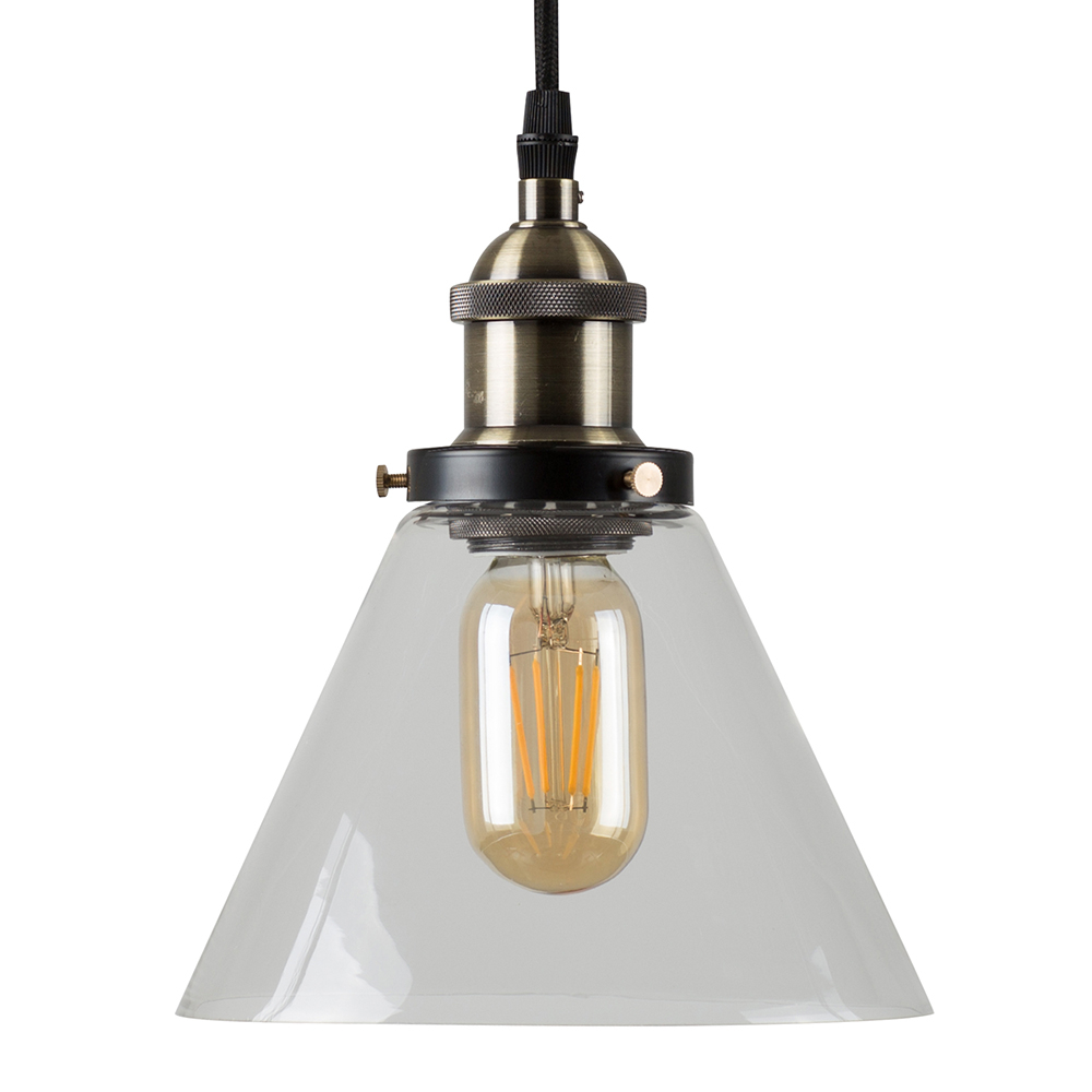 Norton Steampunk Electric Pendant with Clear Glass Shade