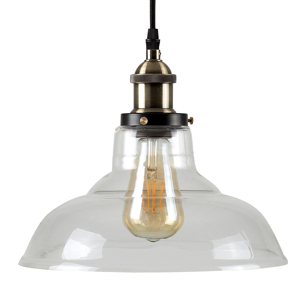 Wallace Steampunk Electric Pendant with Clear Glass Shade
