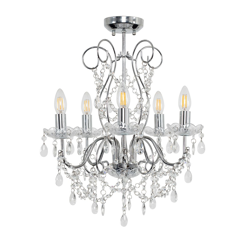 Viscount 5 Way K5 Crystal Ceiling Light in Clear Acrylic and Chrome